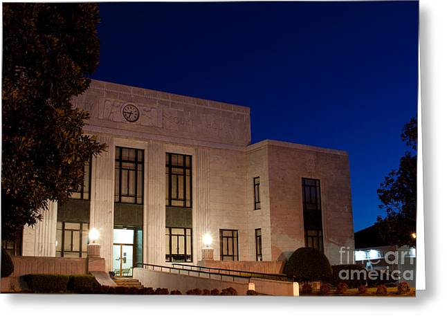Acquitted Greeting Cards - Blue Hour Mitchell County Courthouse Greeting Card by Ben Sellars