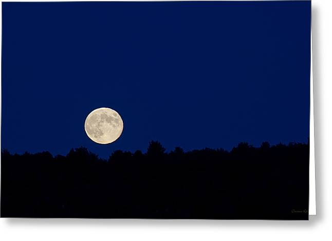 Moon Rise Greeting Cards - Blue Hour Moon Rise Landscape Greeting Card by Christina Rollo