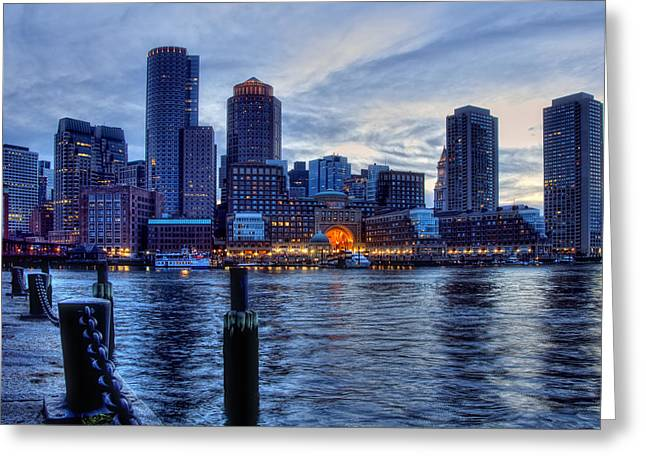 Boston Nights Greeting Cards - Blue Hour on Boston Harbor Greeting Card by Joann Vitali