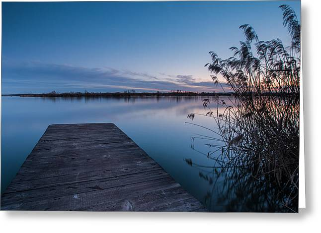 Landscape Photograph Greeting Cards - Blue hour on lake Greeting Card by Davorin Mance