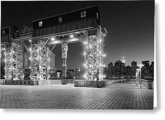 Transfer Greeting Cards - Blue Hour on Midtown NYC Skyline and Old Long island Transfer Bridges - bw Greeting Card by David Giral