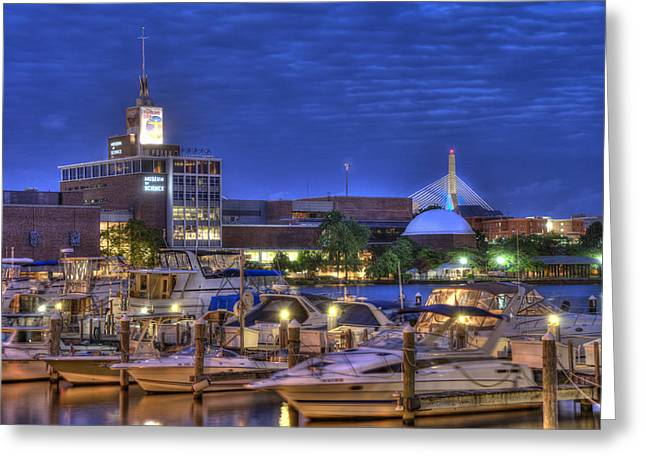 Boston Nights Greeting Cards - Blue Hour on the Charles River - Boston Greeting Card by Joann Vitali