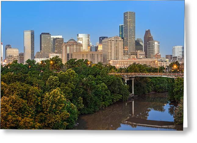 Tree. Sycamore Greeting Cards - Blue Hour Panorama of Downtown Houston Texas Greeting Card by Silvio Ligutti
