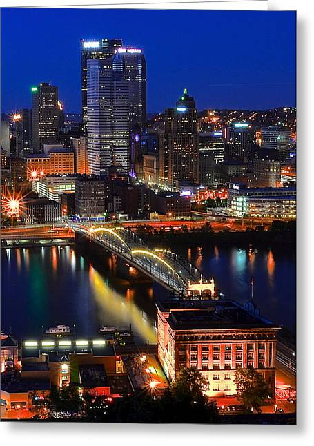 Grandview Greeting Cards - Blue Hour Pittsburgh Greeting Card by Frozen in Time Fine Art Photography