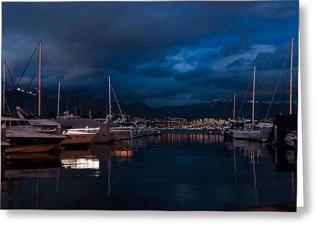 Blue Sailboats Greeting Cards - Blue Hour - Stanley Park Marina - Vancouver - British Columbia - Canada Greeting Card by Georgia Mizuleva
