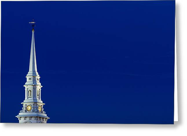 Weathervane Greeting Cards - Blue Hour Steeple Greeting Card by Jeff Sinon