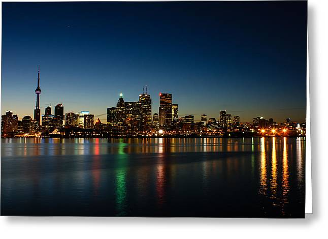 Night Scenes Greeting Cards - Blue Hour - Torontos Dazzling Skyline Reflecting in Lake Ontario Greeting Card by Georgia Mizuleva