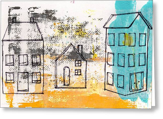Monoprint Greeting Cards - Blue House Greeting Card by Linda Woods