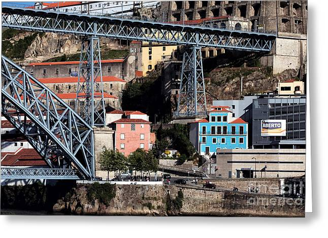 Old School House Greeting Cards - Blue House Under the Bridge Greeting Card by John Rizzuto