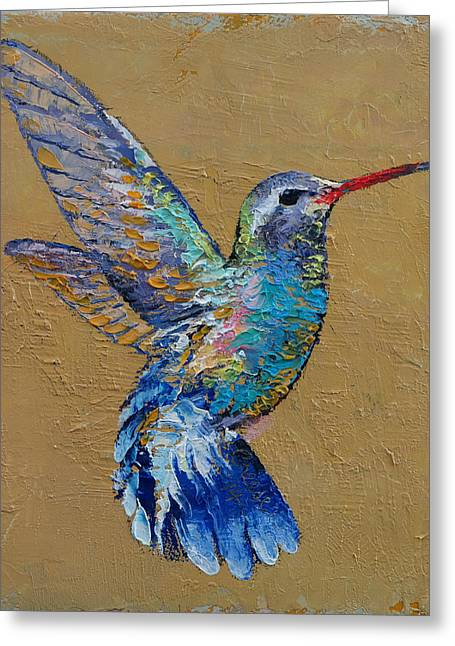Brown Toned Art Greeting Cards - Turquoise Hummingbird Greeting Card by Michael Creese
