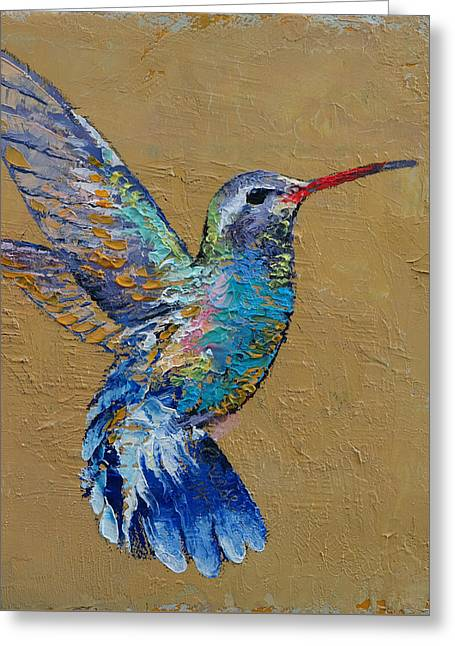 Turquoise Hummingbird Greeting Card by Michael Creese