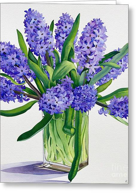 Flower Still Life Greeting Cards - Blue Hyacinths Greeting Card by Christopher Ryland