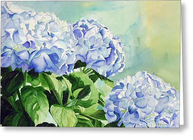 Blue Hydrangeas Greeting Card by Elizabeth  McRorie