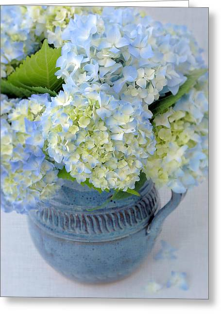 Pottery Pitcher Greeting Cards - Blue Hydrangeas in Blue Pottery Greeting Card by Dianne Sherrill