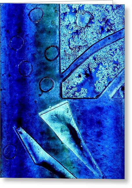 Monoprint Greeting Cards - Blue I Greeting Card by John  Nolan