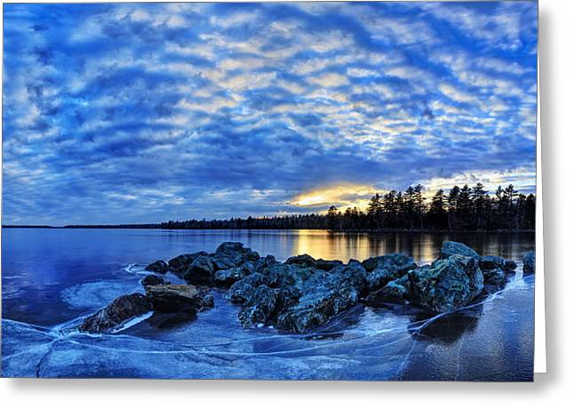 Blue Ice at Sunset Greeting Card by Bill Caldwell -        ABeautifulSky Photography