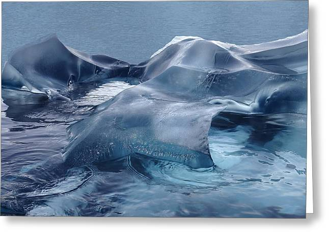 Ocean Vista Greeting Cards - Blue Ice Sculpture Greeting Card by Ginny Barklow
