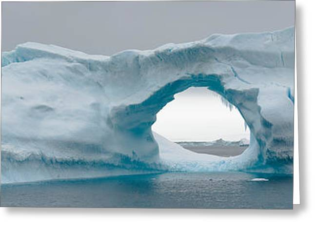 People On Ice Greeting Cards - Blue Iceberg With Hole, Antarctica Greeting Card by Panoramic Images
