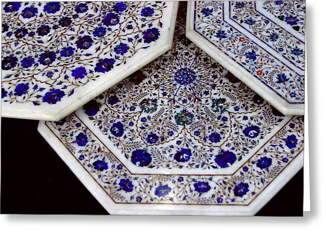 Marble Top Table Greeting Cards - Blue Inlay Floral Pattern Greeting Card by Linda Phelps