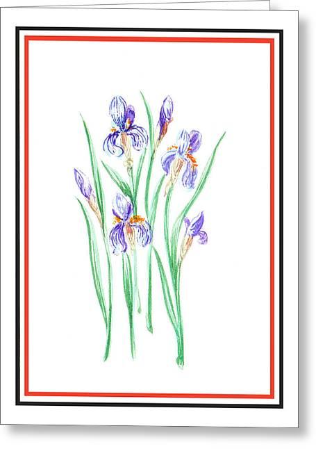 Landscape. Scenic Greeting Cards - Blue Iris Bunch Greeting Card by Irina Sztukowski
