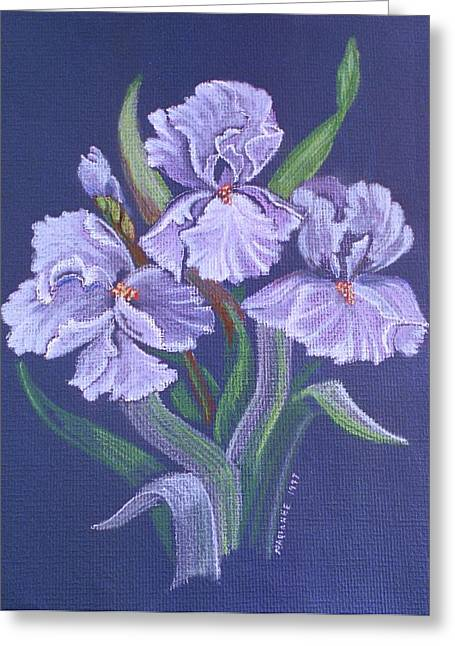 Iris Pastels Greeting Cards - Blue Irises Still Life Greeting Card by Marianne Miles