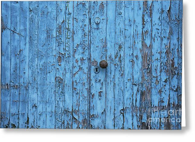 Painted Wood Greeting Cards - Blue ish  Greeting Card by Tim Gainey