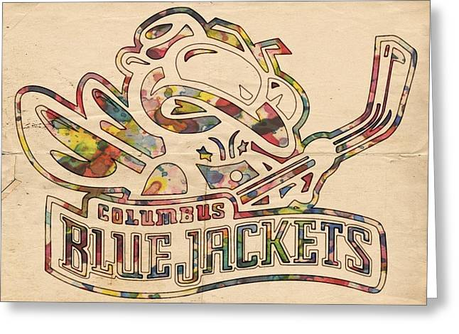 Hockey Helmet Greeting Cards - Blue Jackets Hockey Poster Greeting Card by Florian Rodarte