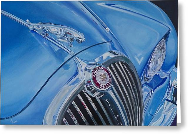 Jaguars Greeting Cards - Vintage Blue Jag Greeting Card by Anna Ruzsan