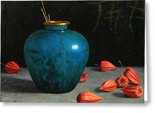 Asian Ceramics Greeting Cards - Blue Jar with Chinese Lanterns  Greeting Card by Bruno Capolongo