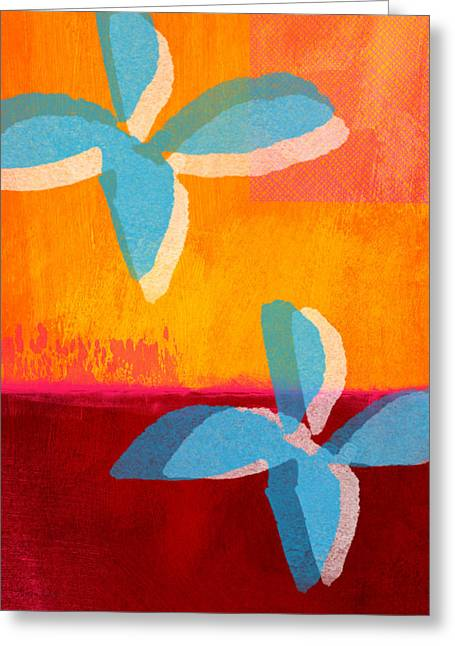 Blue And Orange Abstract Art Greeting Cards - Blue Jasmine Greeting Card by Linda Woods