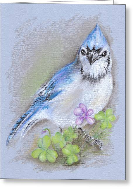 Wild Life Pastels Greeting Cards - Blue Jay in Spring with Oxalis Greeting Card by MM Anderson