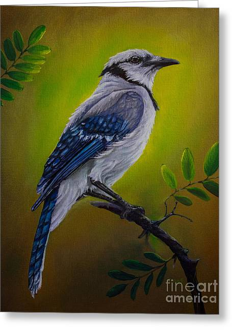 Jaybird Greeting Cards - Blue Jay painting Greeting Card by Zina Stromberg