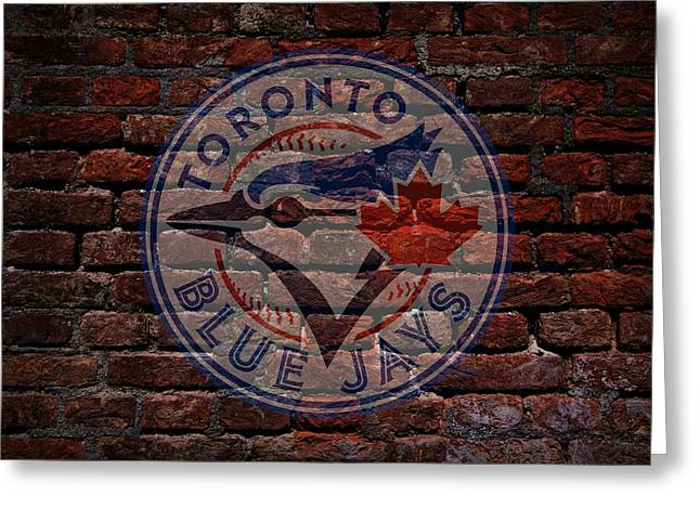 Cabin Wall Greeting Cards - Blue Jays Baseball Graffiti on Brick  Greeting Card by Movie Poster Prints