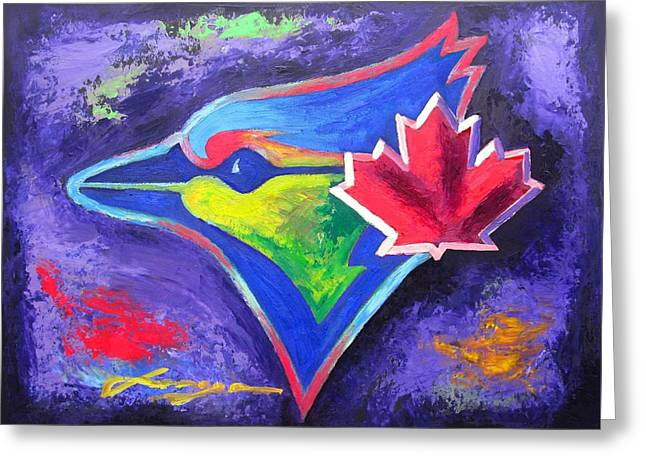 Sport Illustrations Mixed Media Greeting Cards - Toronto BLUE JAYS Baseball Greeting Card by Dan Haraga