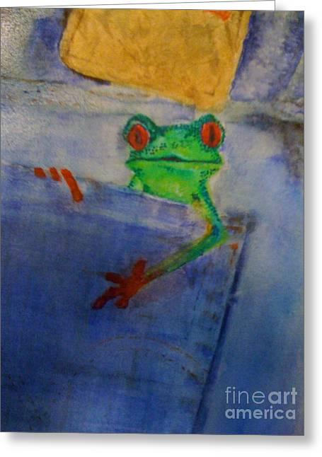 Levis Greeting Cards - Blue Jean Frog Greeting Card by Elena Kazmier Miranda Radock