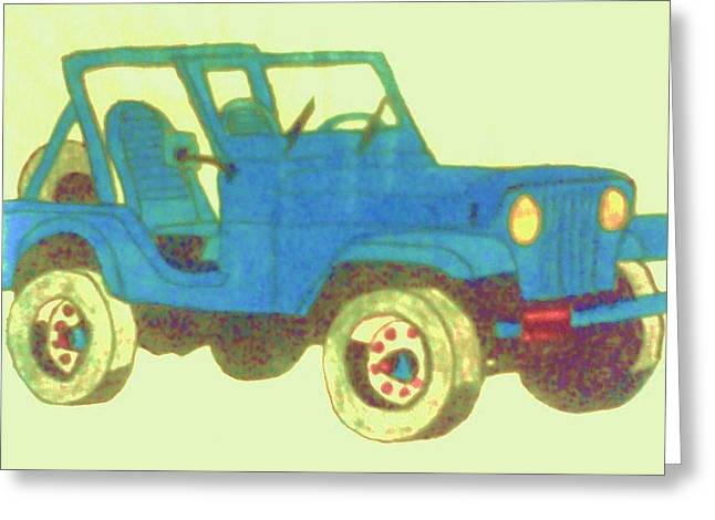 Blue Jeep Greeting Card by Christy Saunders Church