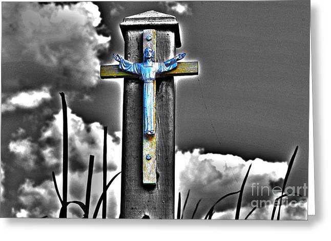 Resurrected Lord Photographs Greeting Cards - Blue Jesus Reprise Greeting Card by Rick Bravo