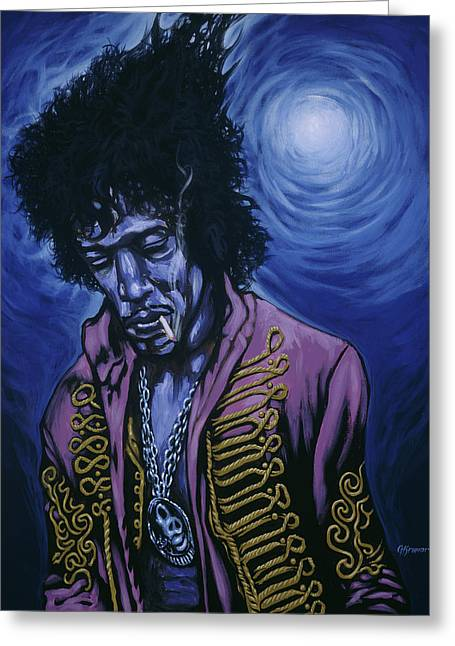 Jimi Hendrix Paintings Greeting Cards - Blue Jimi Greeting Card by Gary Kroman