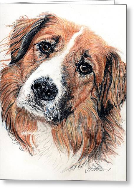 Working Dog Drawings Greeting Cards - Blue Greeting Card by Joanne Stevens