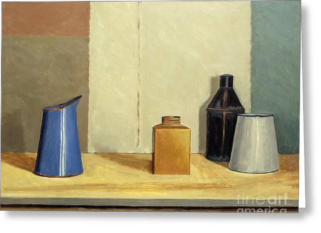 Locations Paintings Greeting Cards - Blue Jug Alone Greeting Card by William Packer