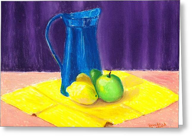 Napkin Pastels Greeting Cards - Blue Jug Greeting Card by Brenda Bonfield