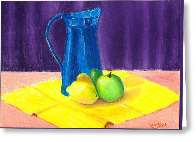 Jugs Pastels Greeting Cards - Blue Jug Greeting Card by Brenda Bonfield