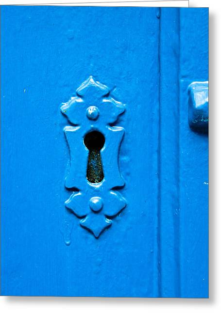 Shed Photographs Greeting Cards - Blue keyhole Greeting Card by Tom Gowanlock