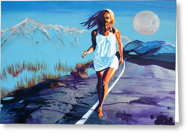 Floating Girl Greeting Cards - Blue Kezia Road Greeting Card by Kat Frost