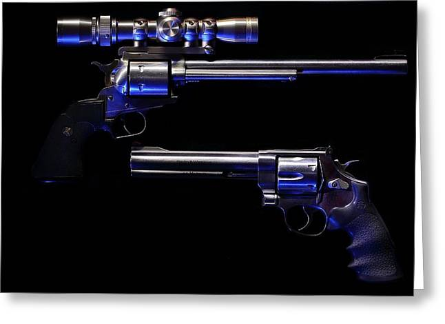 44 Magnum Greeting Cards - Blue Kissed Pistols Greeting Card by David Andersen