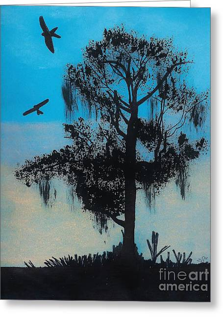 Grey Clouds Drawings Greeting Cards - Blue Kite Sunset Greeting Card by D Hackett