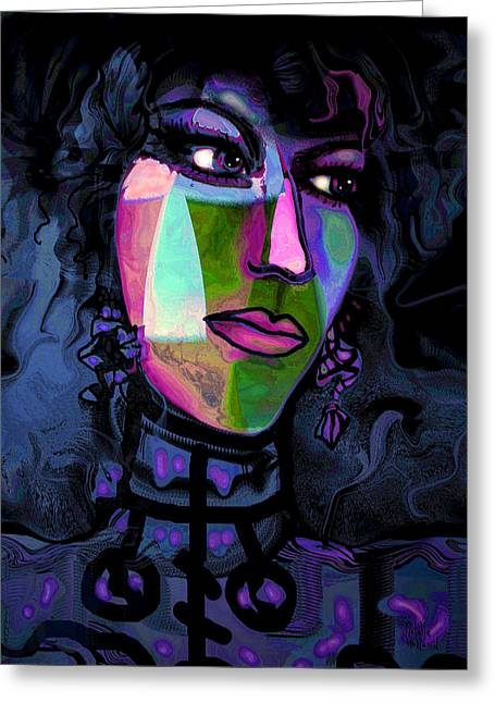 High Cheekbones Greeting Cards - Blue Lady Greeting Card by Natalie Holland