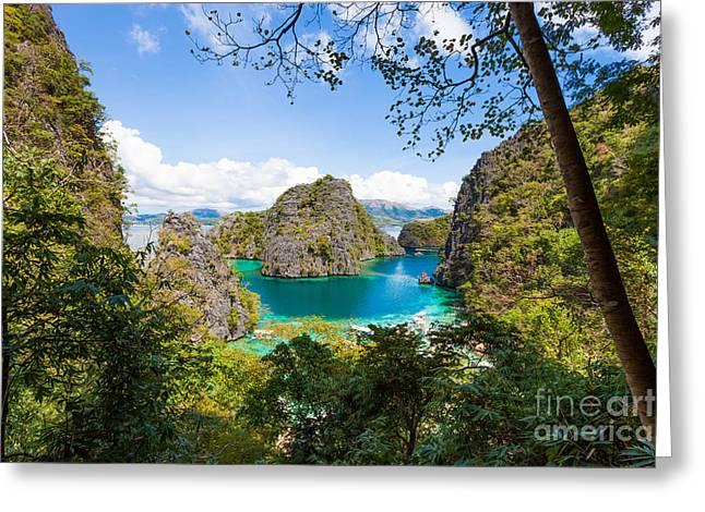 El-nido Greeting Cards - Blue Lagoon at Kayangan Lake Coron island Philippines Greeting Card by Fototrav Print