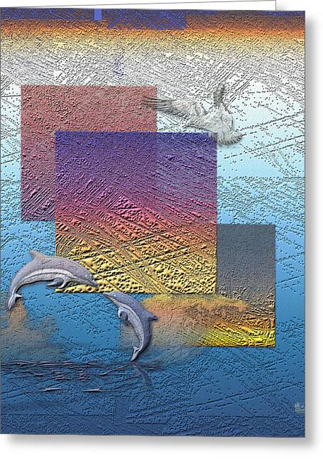 Ultra Modern Greeting Cards - Blue Lagoon Sunrise  Greeting Card by Serge Averbukh
