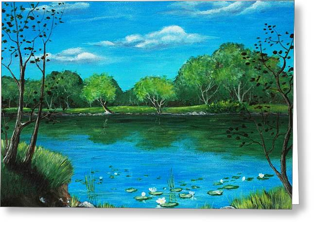 Summer Scene Drawings Greeting Cards - Blue Lake Greeting Card by Anastasiya Malakhova